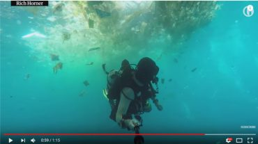 Diver swims through plastic off Bali